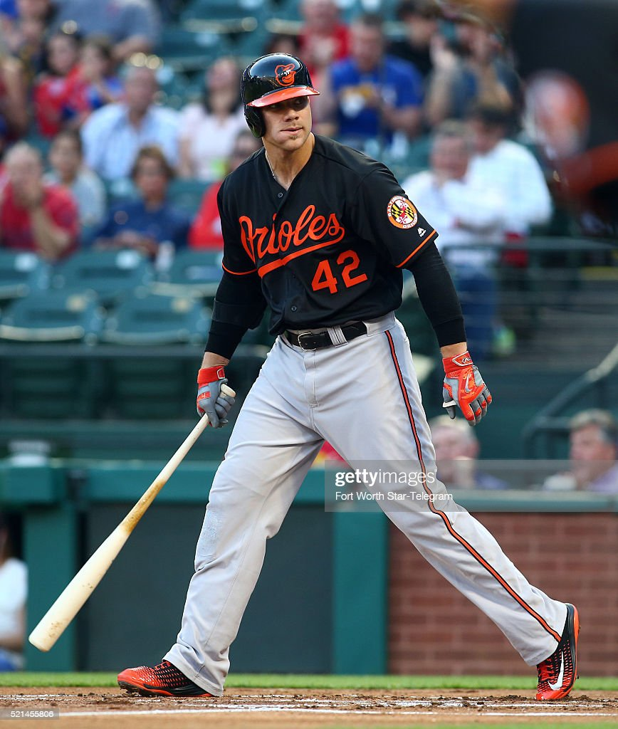 The Baltimore Orioles' <a gi-track='captionPersonalityLinkClicked' href=/galleries/search?phrase=Chris+Davis+-+Baseball+-+Texas+Rangers&family=editorial&specificpeople=7129264 ng-click='$event.stopPropagation()'>Chris Davis</a> reacts after striking out in the first inning against the Texas Rangers at Globe Life Park in Arlington, Texas, on Friday, April 15, 2016.