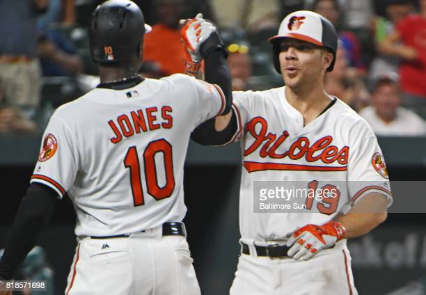 The Baltimore Orioles' Chris Davis right celebrates with teammate Adam Jones after hitting a grand slam against the Texas Rangers in the fourth...