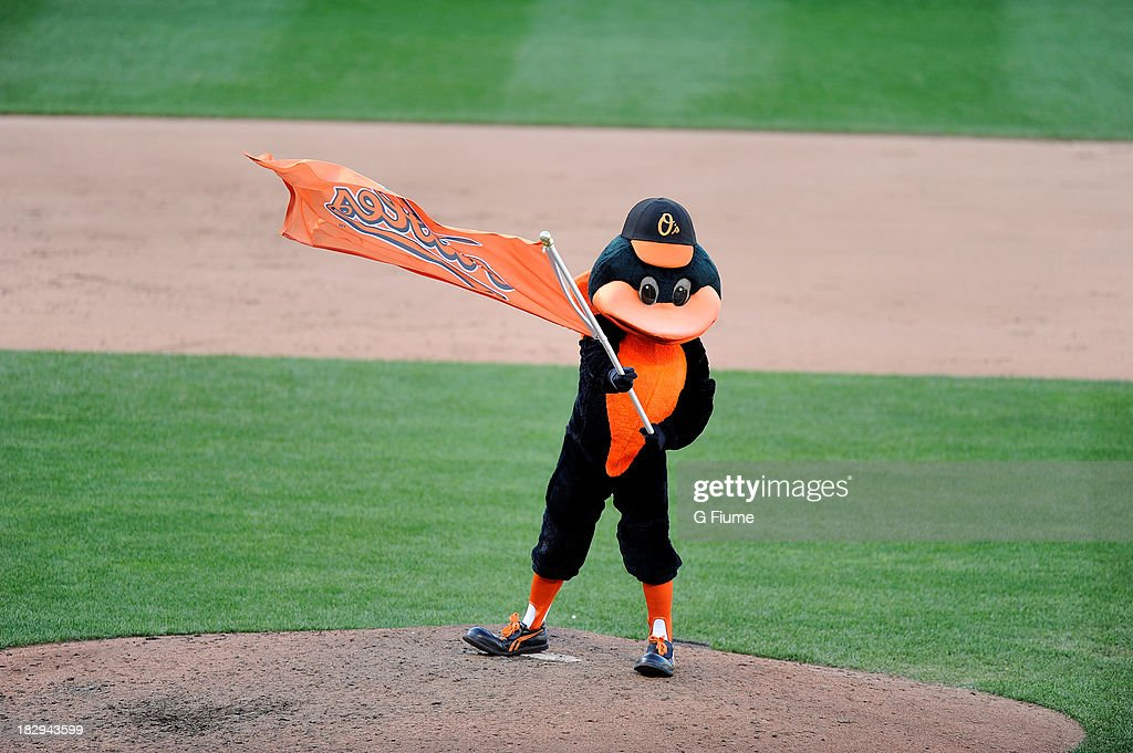 The Baltimore Orioles mascot celebrates after a victory against the Boston Red Sox at Oriole Park at Camden Yards on September 29, 2013 in Baltimore, Maryland.