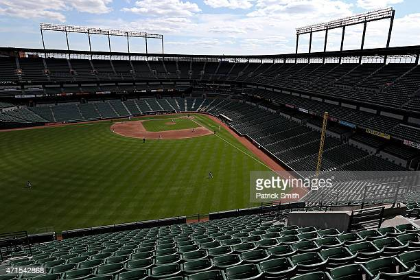 The Baltimore Orioles play the Chicago White Sox at an empty Oriole Park at Camden Yards on April 29 2015 in Baltimore Maryland Due to unrest in...