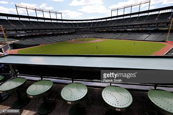 The Baltimore Orioles play the Chicago White Sox in the first inning at an empty Oriole Park at Camden Yards on April 29 2015 in Baltimore Maryland...