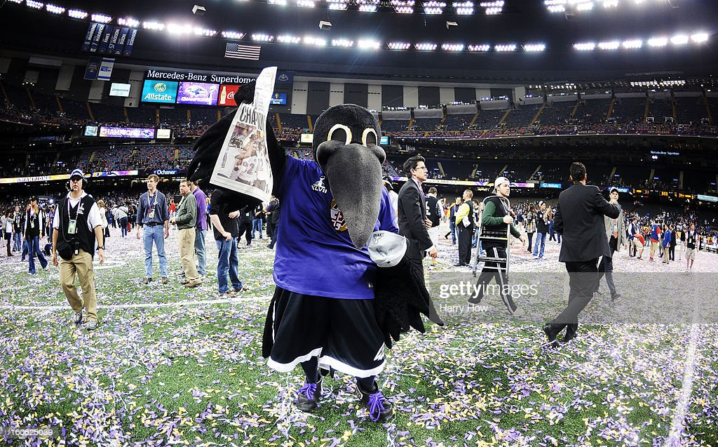 The Baltimore Ravens mascot celebrates after the Ravens won 34-31 against the San Francisco 49ers during Super Bowl XLVII at the Mercedes-Benz Superdome on February 3, 2013 in New Orleans, Louisiana.