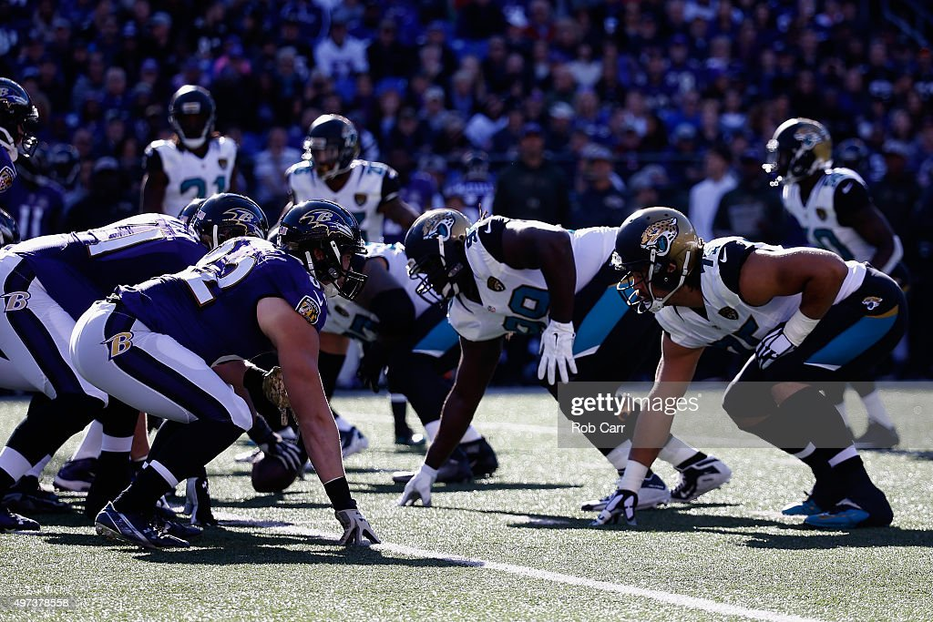 The Baltimore Ravens offense lines up against the Jacksonville Jaguars defense at MT Bank Stadium on November 15 2015 in Baltimore Maryland