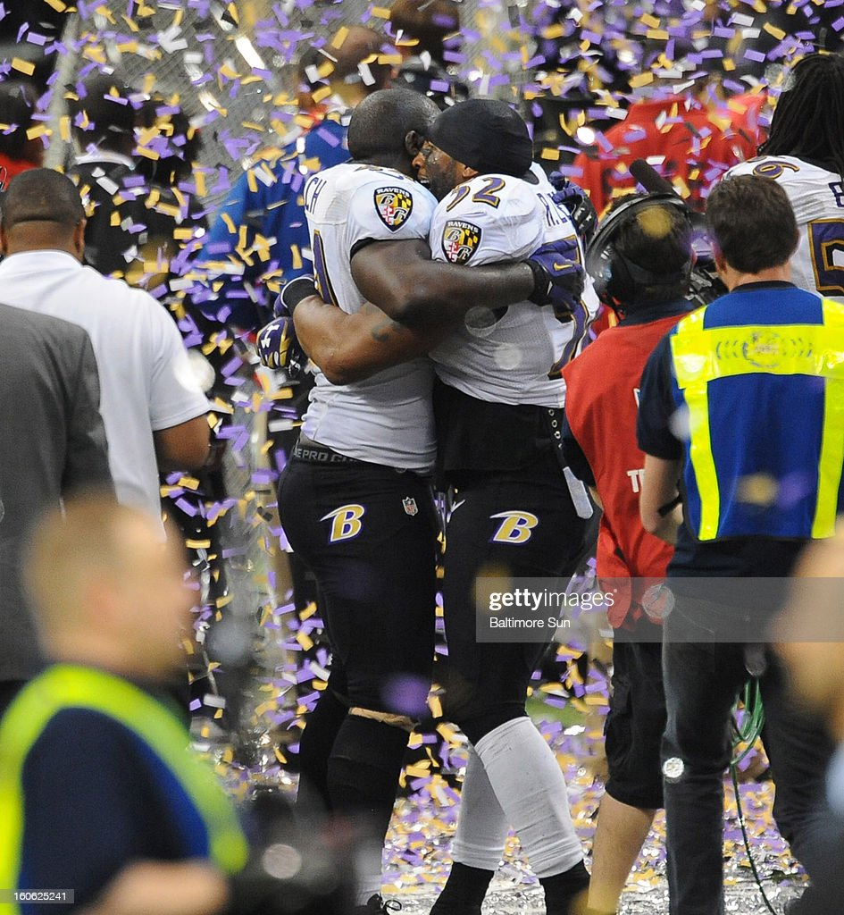 The Baltimore Ravens' Ray Lewis hugs Vonta Leach after a 34-31 win against the San Francisco 49ers in Super Bowl XLVII at the Mercedes-Benz Superdome in New Orleans, Louisiana, Sunday, February 3, 2013.