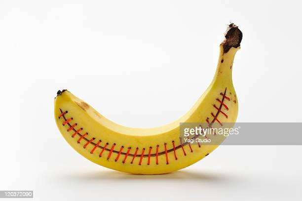 The banana sewn with a thread
