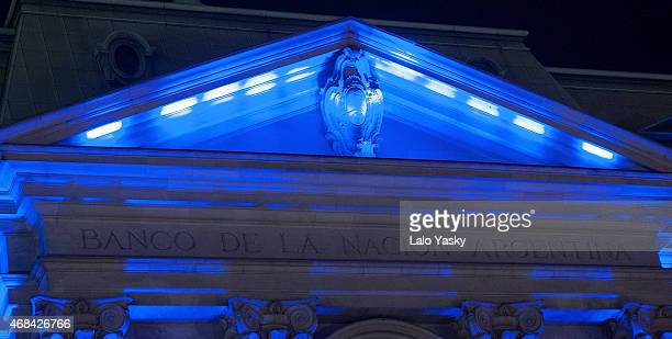 The Banco de la Nacion building is illuminated in blue to mark the World Autism Awareness Day on April 2 2015 in Buenos Aires Argentina