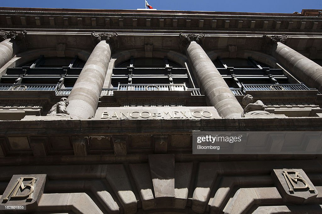The Banco de Mexico building stands in Mexico City, Mexico, on Wednesday, Feb. 27, 2013. The central bank's five-member board is scheduled to announce its next monetary policy decision on March 8. Photographer: Susana Gonzalez/Bloomberg via Getty Images