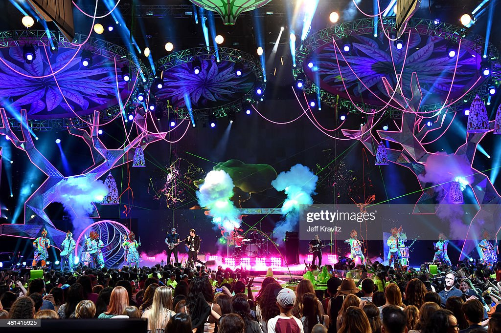 The band American Authors perform onstage at Nickelodeon's 27th Annual Kids' Choice Awards at USC Galen Center on March 29, 2014 in Los Angeles, California.