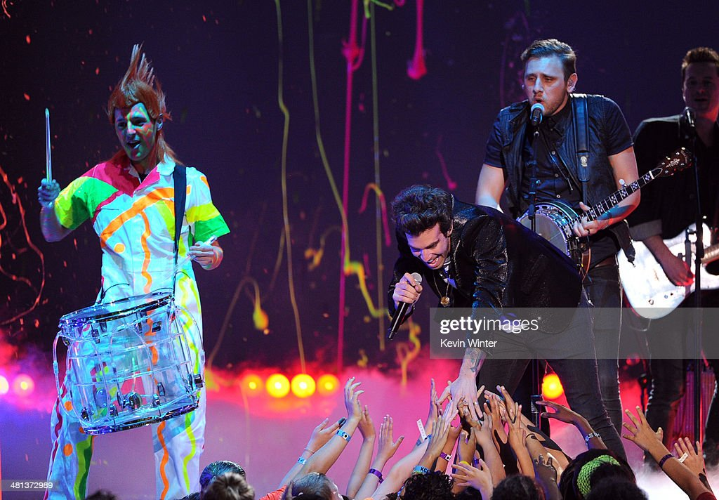 The band American Authors performs onstage during Nickelodeon's 27th Annual Kids' Choice Awards held at USC Galen Center on March 29, 2014 in Los Angeles, California.