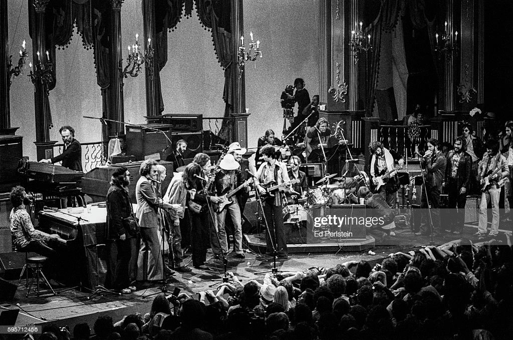 The Band and friends perform during The Last Waltz at Winterland on November 25 1976 in San Francisco California