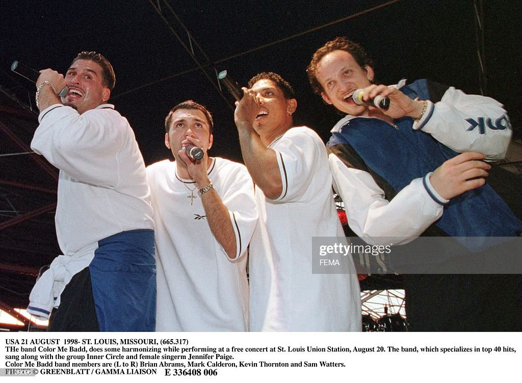 AUGUST 1998 ST LOUIS MISSOURI THe band Color Me Badd does some harmonizing while performing at a free concert at St Louis Union Station August 20 The...