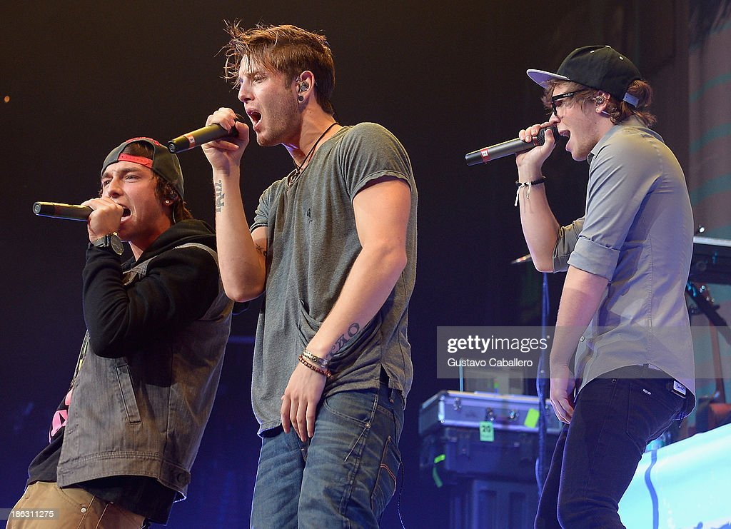 The Band Emblem 3 performs at BB&T Center on October 29, 2013 in Sunrise, Florida.