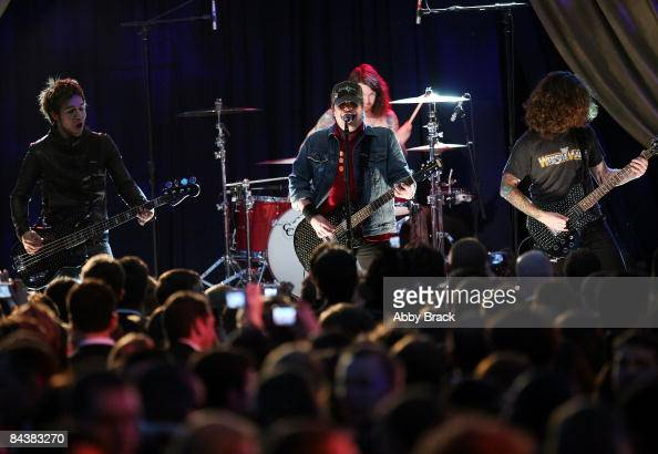 The band Fall Out Boy performs during MTV ServiceNation Live From The Youth Inaugural Ball at the Hilton Washington on January 20 2009 in Washington...