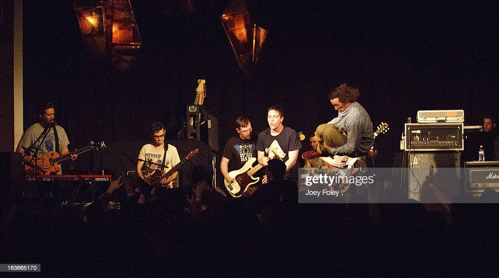 The band Fireworks performs on stage in concert at The Irving Theater on March 13, 2013 in Indianapolis, Indiana.