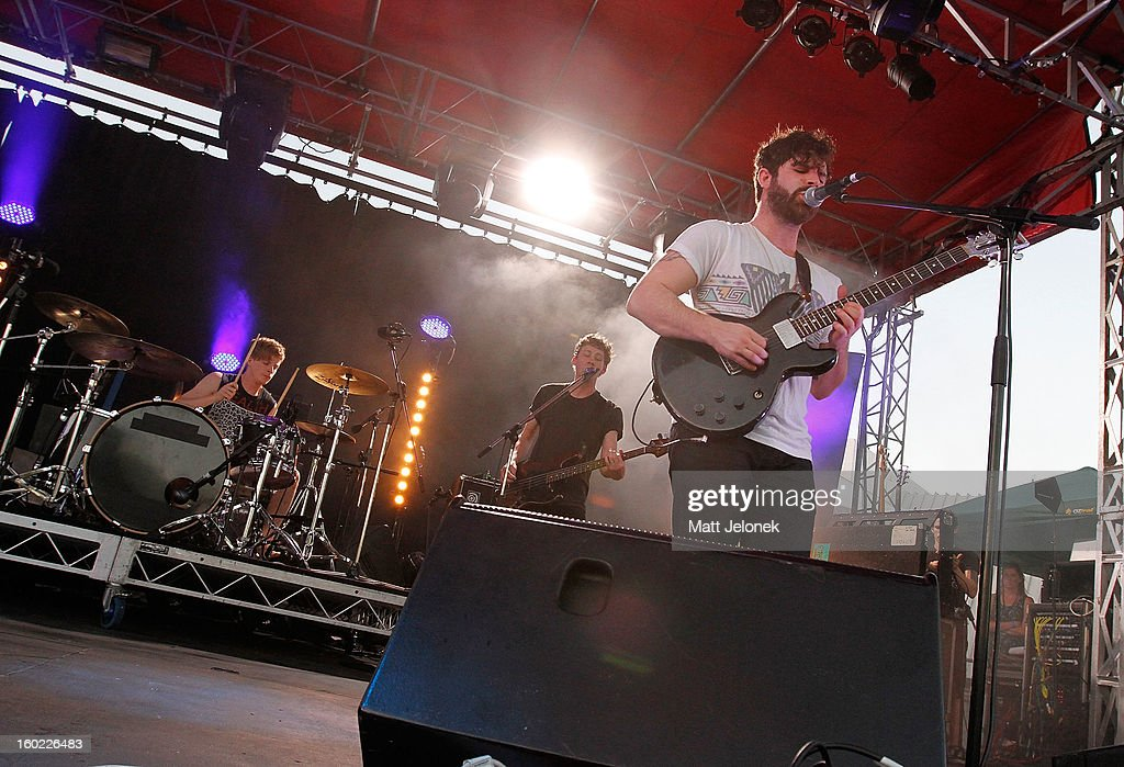 The band Foals performs during Big Day Out at Claremont Showgrounds on January 28, 2013 in Perth, Australia.