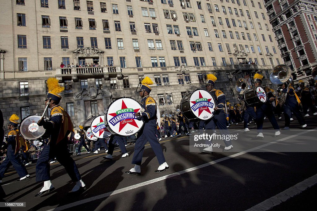 The band from the North Carolina Agricultural and Tech State University make their way through the streets of Manhattan during the 86th Annual Macy's Thanksgiving Day Parade on November 22, 2012 in New York City. Macy's donated tickets and transportation to this year's Thanksgiving Day Parade to 5,000 people from neighborhoods hardest hit by Superstorm Sandy.