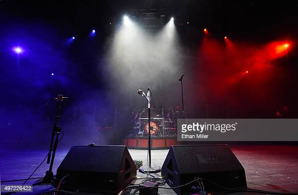 The band Godsmack keeps the stage lit with the blue white and red colors of the French flag in a show of solidarity with France before the group's...