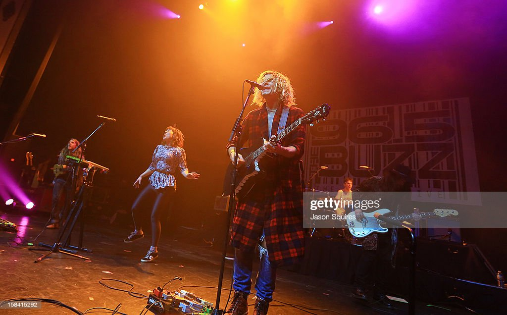 The band Grouplove performs during The Night The Buzz Stole Christmas at The Midland by AMC on December 15, 2012 in Kansas City, Missouri.