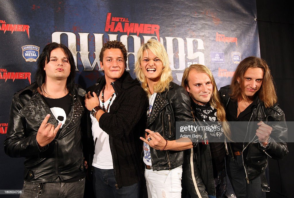The band Kissin Dynamite arrives for the fifth Metal Hammer Awards at Kesselhaus on September 13, 2013 in Berlin, Germany. The annual prizes are given by Metal Hammer, a German music magazine specialized in Heavy Metal and Hard Rock.