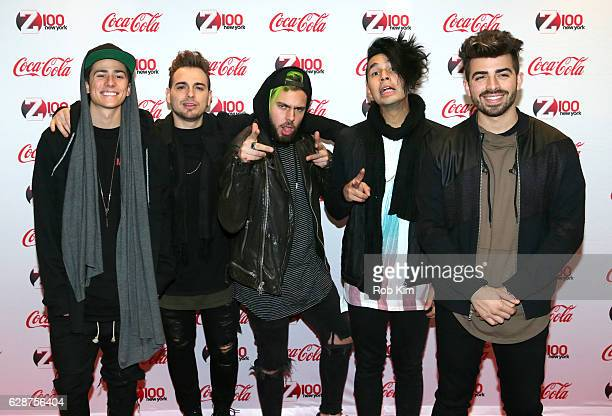 The band Los 5 attends Z100 CocaCola All Access Lounge at Z100's Jingle Ball 2016 Presented by Capital One preshow at Hammerstein Ballroom on...
