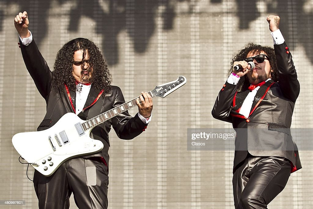 The Band 'Los Infierno' performs during a show as part of the Vive Latino 2014 at Foro Sol on March 27, 2014 in Mexico City, Mexico.