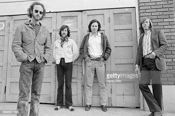 The band members of The Doors from left to right Robbie Krieger John Densmore Jim Morrison and Ray Manzarek