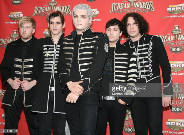 The band My Chemical Romance pose in the press room for Spike TV's 'Scream Awards 2006' at the Pantages Theatre on October 7 2006 in Los Angeles...