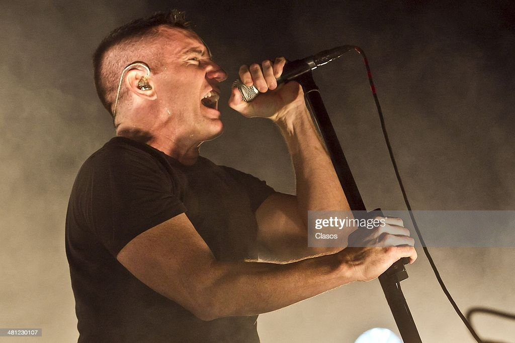 The Band 'Naine Inch Nails ' perform during a show as part of the Vive Latino 2014 at Foro Sol on March 27, 2014 in Mexico City, Mexico.