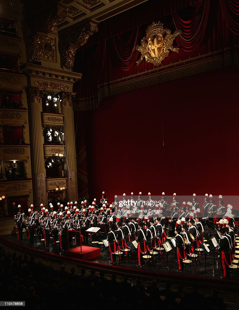 The band of Italian special police Carabineri perform at the Teatro alla Scala on March 19, 2011 in Milan, Italy. Events in various Italian cities will celebrate the 150th anniversary of Italy's unification until the end of the year.