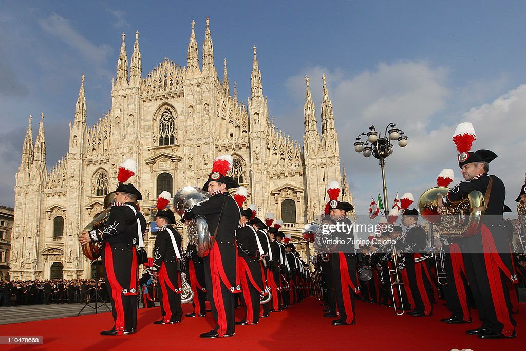 The band of Italian special police Carabineri perform in Piazza Duomo on March 19, 2011 in Milan, Italy. Events in various Italian cities will celebrate the 150th anniversary of Italy's unification until the end of the year.