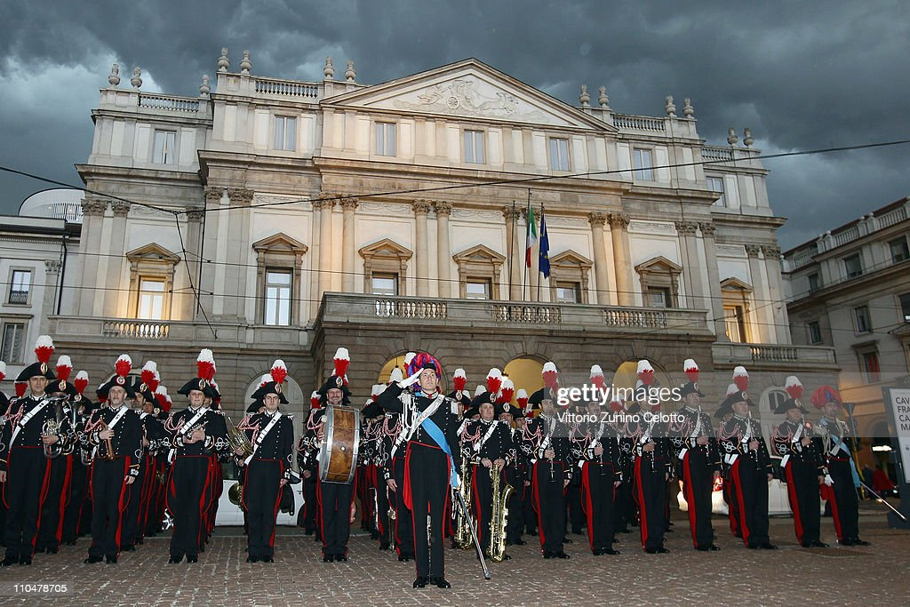 The band of Italian special police Carabineri pose in Piazza Della Scala after the concert at the Teatro alla Scala on March 19, 2011 in Milan, Italy. Events in various Italian cities will celebrate the 150th anniversary of Italy's unification until the end of the year.