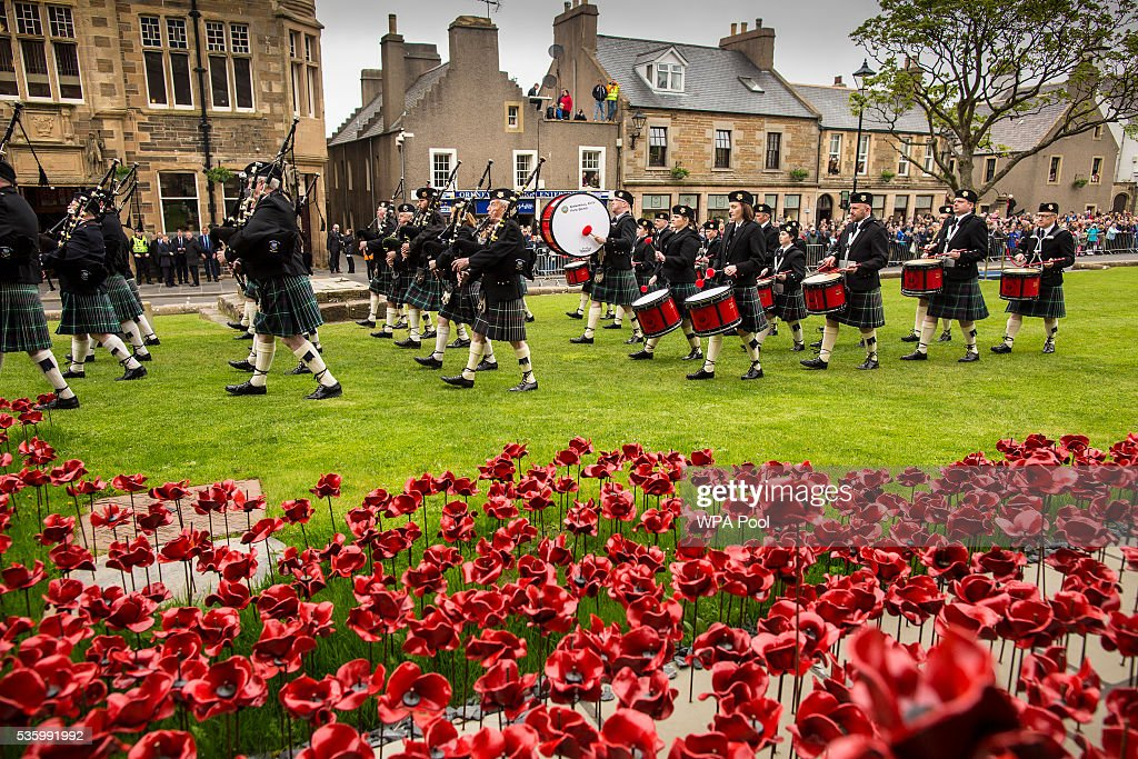 The band of the city of Kirkwall play at commemorations of the 100th anniversary of the Battle of Jutland at St Magnus Cathedral on May 31, 2016 in Kirkwall, Scotland. The event marks the centenary of the largest naval battle of World War One where more than 6,000 Britons and 2,500 Germans died in the Battle of Jutland fought near the coast of Denmark on 31 May and 1 June 1916.