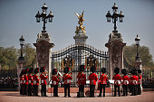 The Band of the Coldstream Guards form up around the main gate of Buckingham Palace during the Changing of the Guard ceremony on April 20 2011 in...