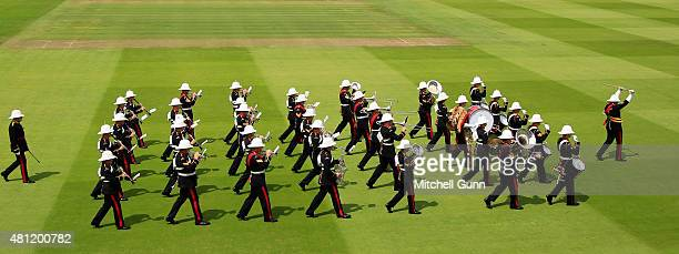 The Band of The Royal Marines perform during day three of the 2nd Investec Ashes Test match between England and Australia at Lord's Cricket Ground on...