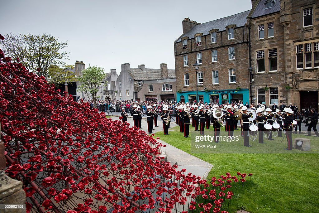 The band of the Royal Marines play at commemorations of the 100th anniversary of the Battle of Jutland at St Magnus Cathedral on May 31, 2016 in Kirkwall, Scotland. The event marks the centenary of the largest naval battle of World War One where more than 6,000 Britons and 2,500 Germans died in the Battle of Jutland fought near the coast of Denmark on 31 May and 1 June 1916.