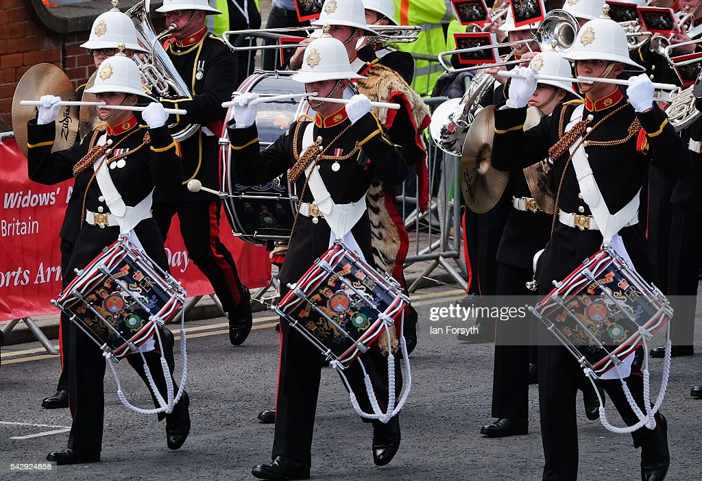 The Band of the Royal Marines take part in the main military parade during the Armed Forces Day National Event on June 25, 2016 in Cleethorpes, England. The visit by the Prime Minister came the day after the country voted to leave the European Union. Armed Forces Day is an annual event that gives an opportunity for the country to show its support for the men and women in the British Armed Forces.