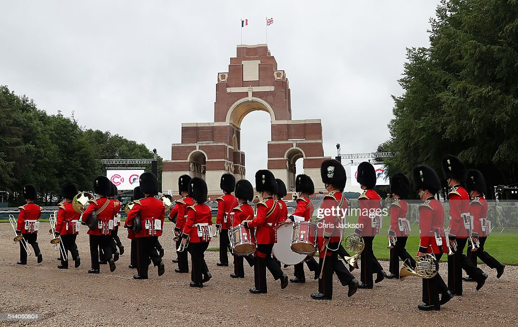 The band of the Welsh Guards arrive at Thiepval Memorial to the Missing of the Somme during Somme Centenary Commemorations on July 1, 2016 in Thiepval, France. Today marks exactly 100 years since the beginning of the battle of the Somme.