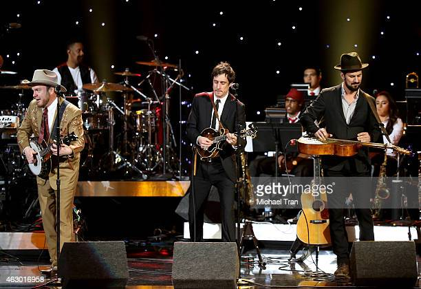 The band Old Crow Medicine Show performs onstage during The 57th Annual GRAMMY Awards premiere ceremony at STAPLES Center on February 8 2015 in Los...