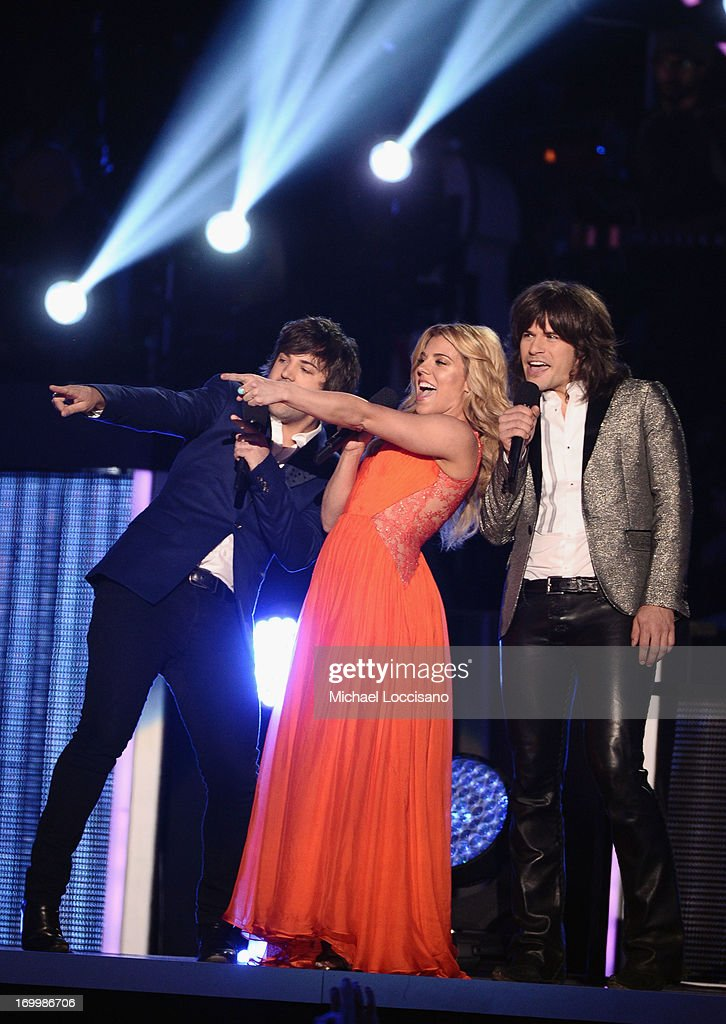 The band Perry speak during the 2013 CMT Music awards at the Bridgestone Arena on June 5, 2013 in Nashville, Tennessee.