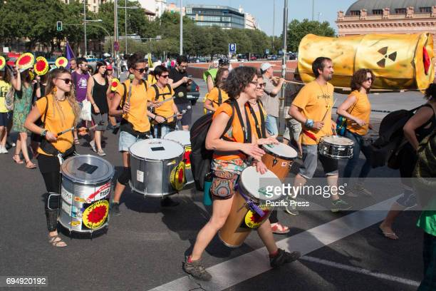 The band playing Hundreds of people attended the green peace march against nuclear energy