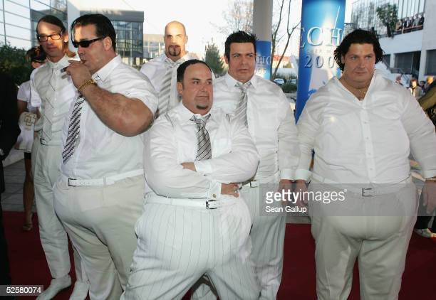 The band Rammstein in fat suits arrive for the 'ECHO' 2005 German Music Awards at the Estrel Convention Center on April 2 2005 in Berlin Germany