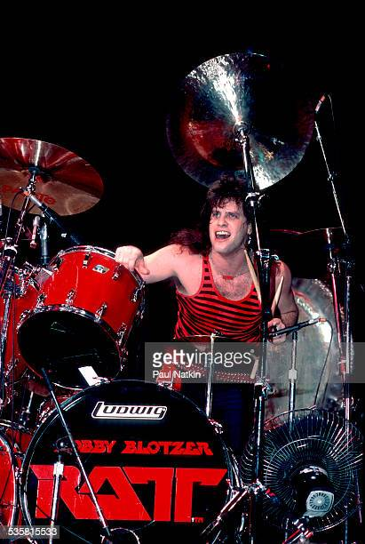The band Ratt performs onstage Chicago Illinois September 2 1984