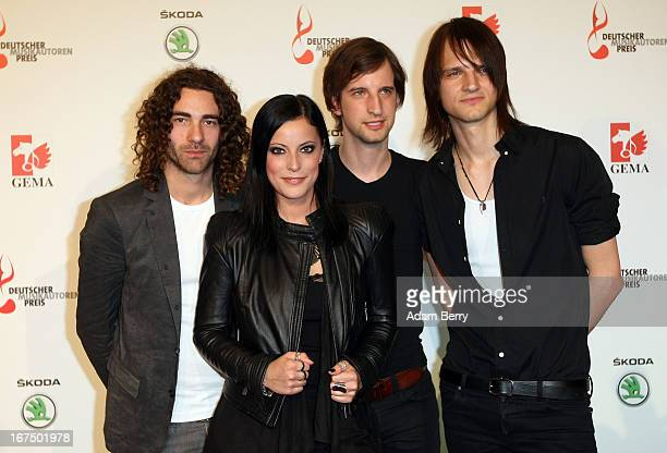 The band Silbermond arrives for the Deutscher Musikautorenpreis 2013 ceremony at the Ritz Carlton hotel on April 25 2013 in Berlin Germany The prize...