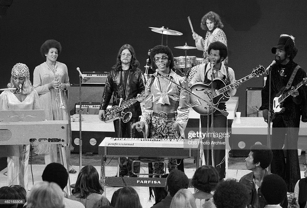 The band, 'Sly and the Family Stone' perform on television October 15, 1969. From left: Rosie Stone, Cynthia Robinson, Jerry Martini, Sly Stone, Freddie Stone, Larry Graham and Gregg Errico on drums.