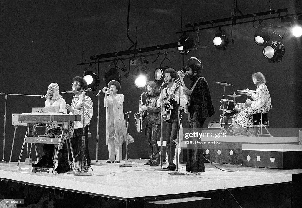 The band, 'Sly and the Family Stone' perform on television October 15, 1969. From left: Rosie Stone, Sly Stone, Cynthia Robinson, Jerry Martini, Freddie Stone, Larry Graham and Gregg Errico on drums.