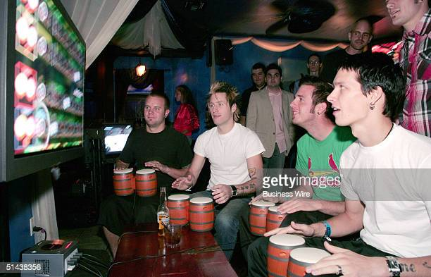 The band Story of the Year gets into the beat with Donkey Konga a new video game for Nintendo GameCube during a September 27 Hollywood California...