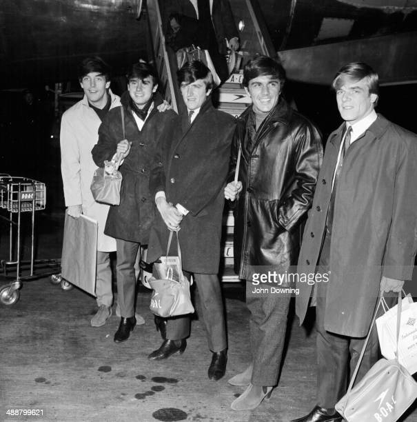 The band 'The Dave Clark Five' arriving at London Airport May 16th 1964
