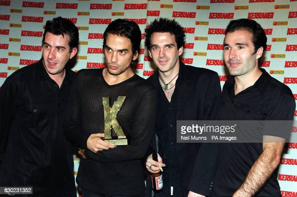 The band Three Colours Red after collecting an award for best British band live act at the Kerrang Music Awards held at the Cumberland Hotel London...