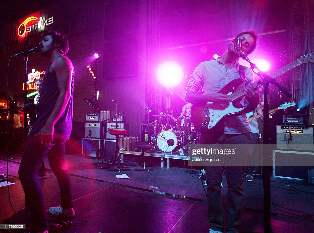 The band Young The Giant performs at the Power & Light District on July 6, 2012 in Kansas City, Missouri.