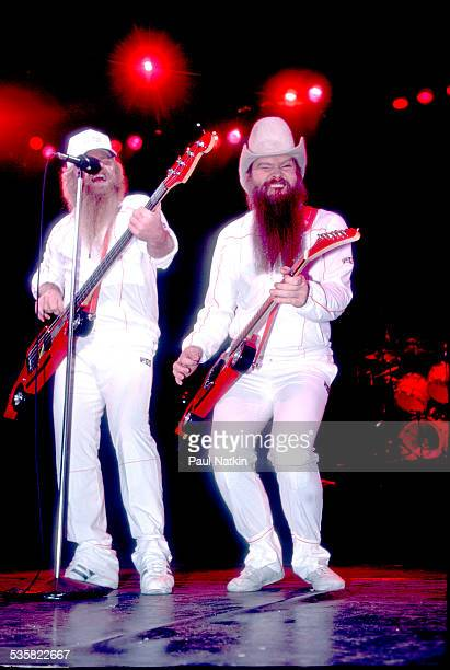 The band ZZ Top performing at the Metro Center Rockford Illinois February 8 1984